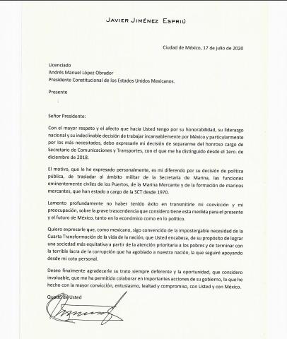 Con esta carta Jiménez Espriú renunció a la 4T