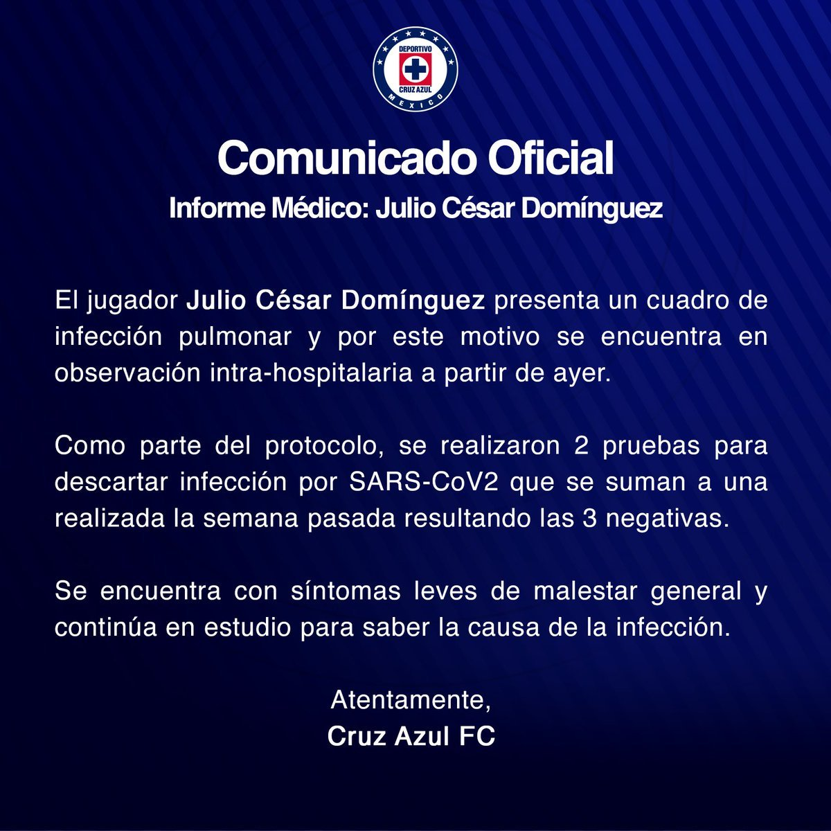 Julio César Domínguez no estará el sábado cuando Cruz Azul enfrente a León en la Jornada 3 luego de que su club lo reportara hospitalizado por una infección pulmonar desde este lunes https://www.mediotiempo.com/futbol/liga-mx/cruz-azul-julio-cesar-dominguez-hospitalizado-infeccion-pulmonar
