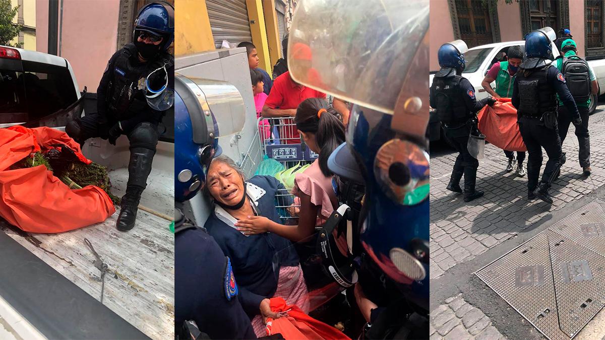 Confiscan mercancía de mujer que vendía yerbas