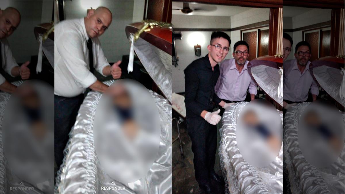 Empleados fotografían a Maradona mientras preparaban el cuerpo.