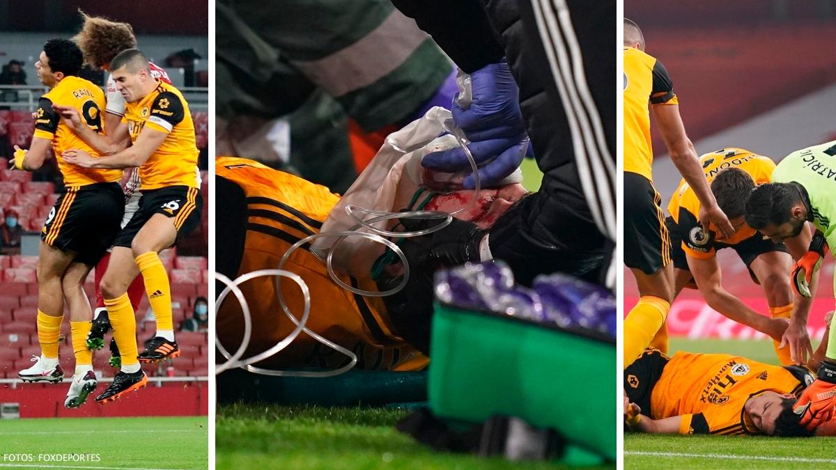 Raúl Jiménez tuvo un fuerte choque de cabeza con David Luiz