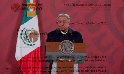 López Obrador felicita y reconoce a Biden por su triunfo en EEUU