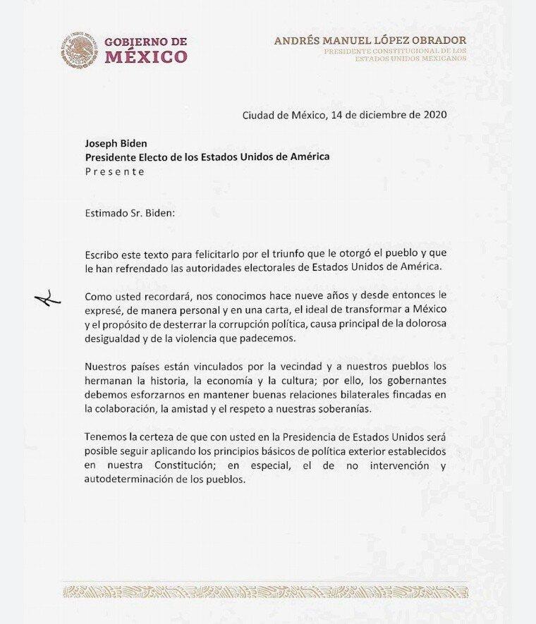 Lopez Obrador felicita y reconoce a Biden por su triunfo en EEUU1