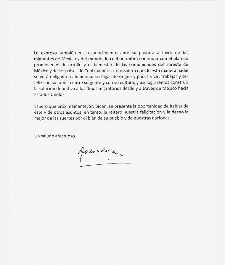 Lopez Obrador felicita y reconoce a Biden por su triunfo en EEUU2