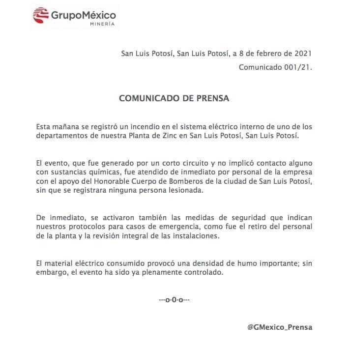 comunicado oficial de la Planta de Zinc de Minera México