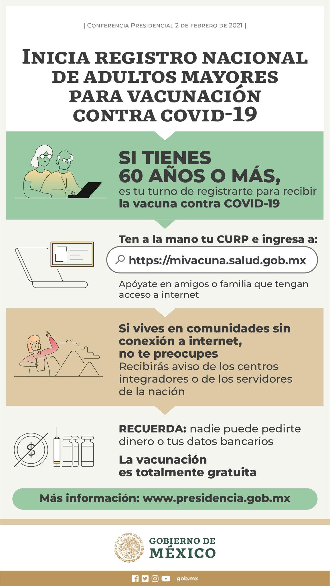 Mexico abre el registro para que adultos mayores de 60 anos puedan recibir la vacuna contra el COVID 19 1