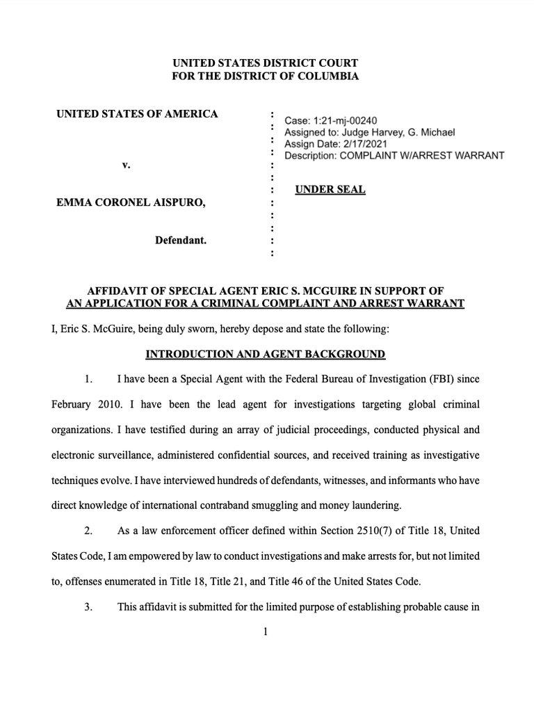 """esposa de """"El Chapo Guzmán"""", fue arrestada en Estados Unidos"""